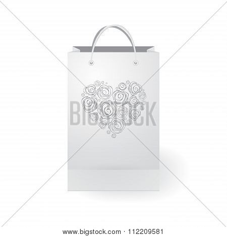 Stock Vector Isolated Paper Shopping Bag On The White Background With Heart