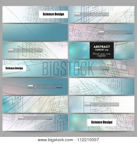 Set of modern banners. Abstract vector background, digital technologies, cyber space
