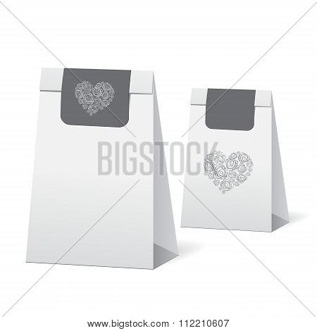 Set Of Stock Vector Isolated Paper Shopping Bag On The White Background With Heart