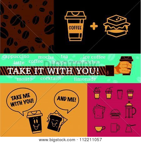 coffee elements and background