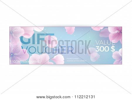 Vector Gift Voucher Template With Lotus, Lily Flowers. Business Floral Card Template. Abstract Backg