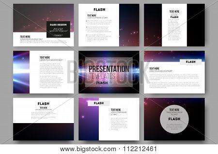 Set of 9 vector templates for presentation slides. Flashes against dark background