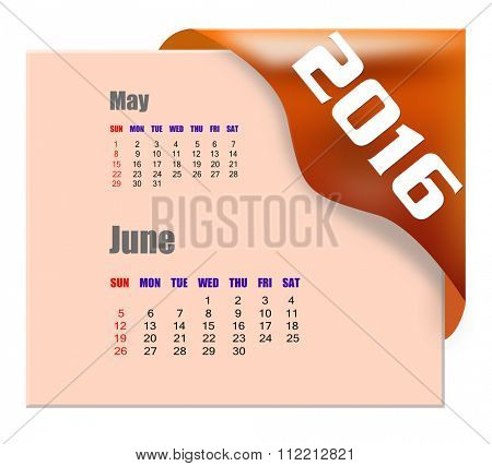 June 2016 calendar with past month series