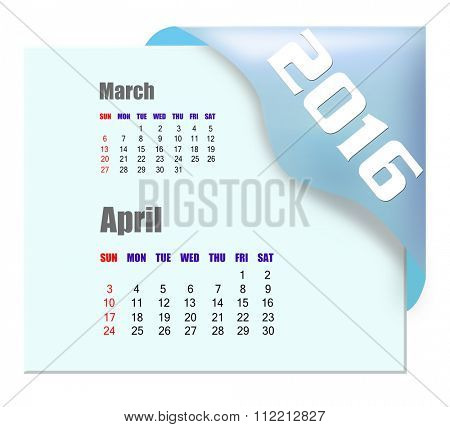 April 2016 calendar with past month series