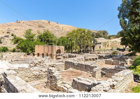 Monastery (friary) In Messara Valley At Crete Island In Greece. Messara - Is The Largest Plain In Cr