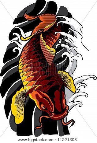 Vector koi fish tattoo.