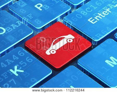 Vacation concept: Car on computer keyboard background