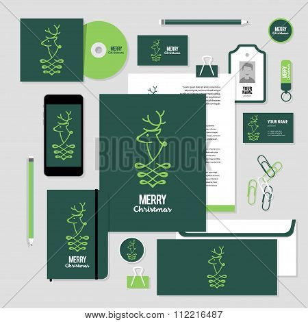 Vector Stationery Template Design With Christmass Deer