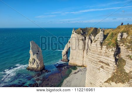 famouse Etretat arch rock, France
