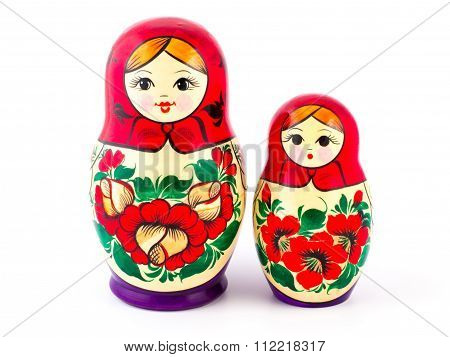 Russian nesting dolls. Babushkas or matryoshkas. Set of 2 pieces
