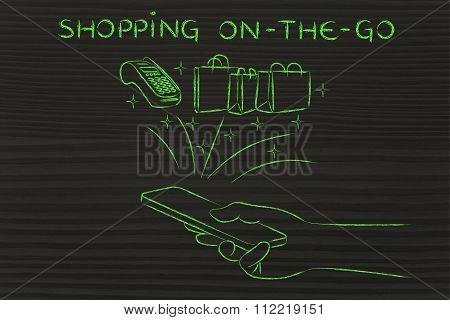 Bags And Pos Coming Out Of Smartphone, With Text Shopping On-the-go