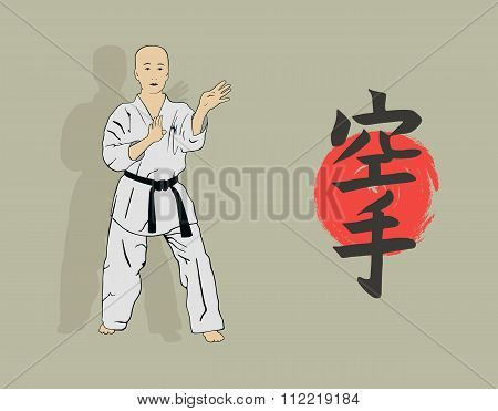 The Illustration, The Man Shows Karate.