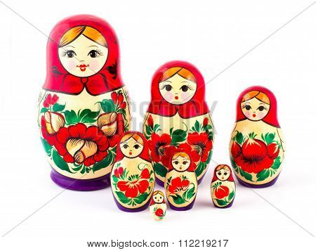 Russian nesting dolls. Babushkas or matryoshkas. Set of 7 pieces
