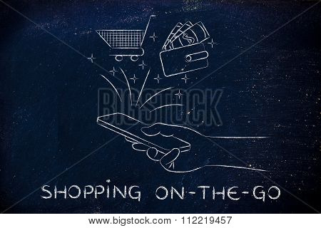 Cart And Wallet Coming Out Of Mobile Screen, With Text Shopping On-the-go