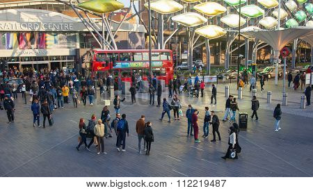 LONDON, UK - NOVEMBER 29, 2015: Stratford international train and tube station, one of the biggest t
