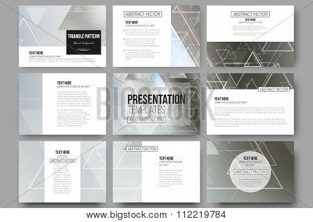 Set of 9 vector templates for presentation slides. Abstract blurred background with triangles, lines