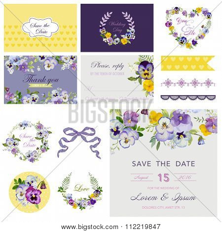 Scrapbook Design Elements - Wedding Flower Pansy Theme - in vector