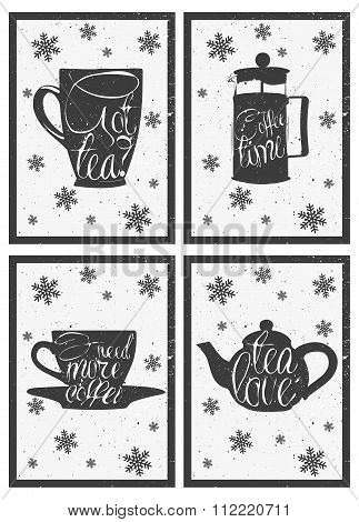 Lettering on hot coffee and tea cup. Hand drawn menu design, poster. Vector set of pot, cups