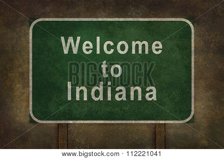 Welcome to Indiana roadside sign illustration
