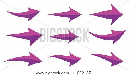 Icon Set Illustration Arrow Purple
