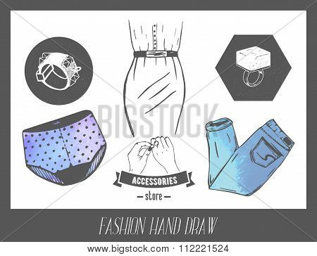 Fashion hand drawn sketch. Vector set of labels and badges for model industry. Dress, underwear, jea