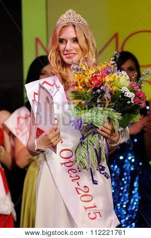 Orel, Russia - December 20, 2015: Miss Orel 2015 Beauty Contest. Miss Orel 2015 Julia Kupkova With T