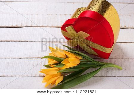 Festive Gift Box With Fresh Tulip Flowers On White Painted Wooden Planks.