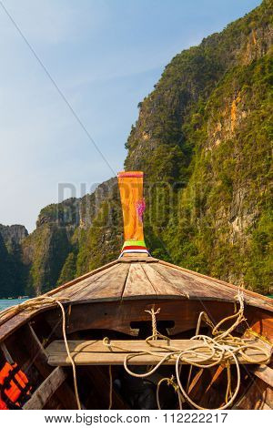 Long tail boat to bring tourist to travel to beautiful Island in Thailand