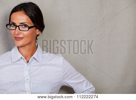 Young Businesswoman Wearing Glasses And Smiling