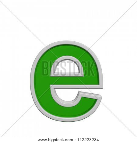 One lower case letter from green glass with white frame alphabet set, isolated on white. Computer generated 3D photo rendering.