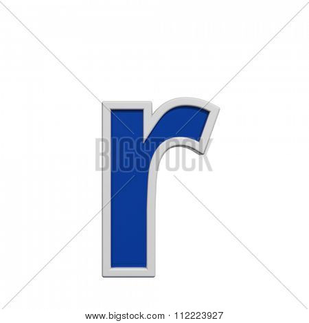 One lower case letter from blue glass with white frame alphabet set, isolated on white. Computer generated 3D photo rendering.