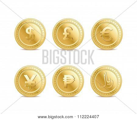 Set Of The Currency Golden Isolated Finance Coin Icons