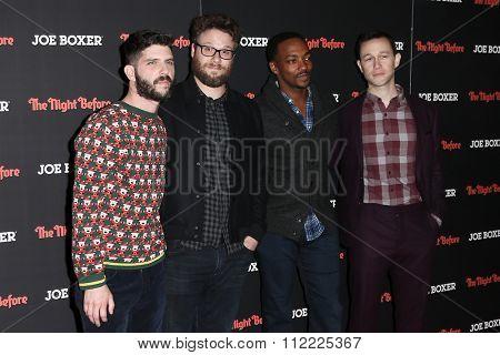 NEW YORK-NOV 16: (L-R) Jonathan Levine, Seth Rogen, Anthony Mackie and Joseph Gordon-Levitt attend the screening of
