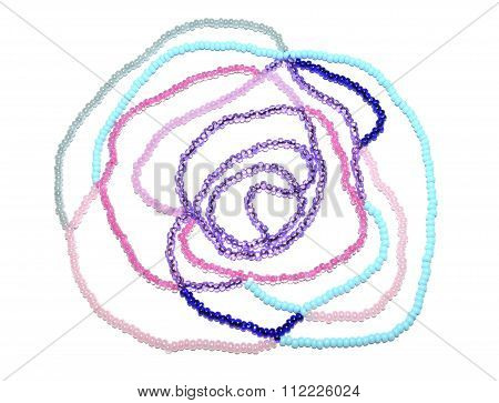 Abstract rose of pink, blue and silver beads on white background