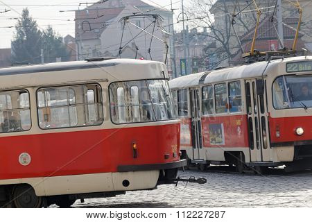 Two Red Vintage Tram