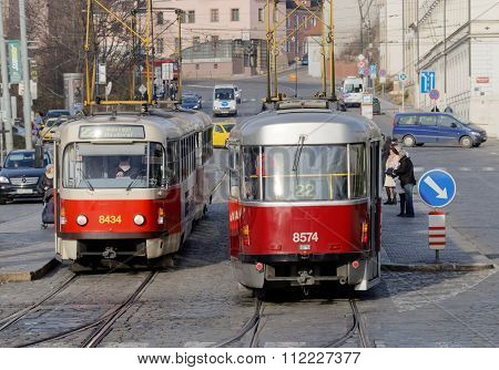 Two Red And White Vintage Tram
