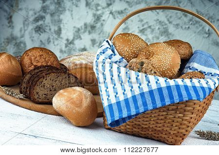 Wicker basket with bread products