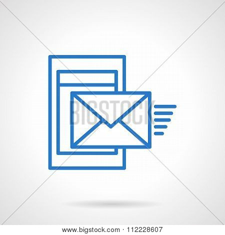 Phone mail blue simple line vector icon