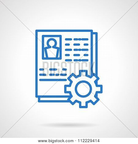 Staff management abstract blue line vector icon