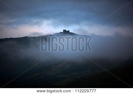 Pip Ivan mountain before dawn (observatory ruins on Chornogora ridge Ukraine)