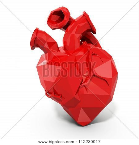3D Human Heart With Faceted Low-poly Geometry Effect
