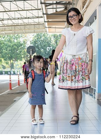 Children And Mother Go To School First Day Use For Education ,kid In Kindergarten