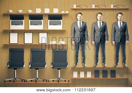 Office Tool Kit With Furniture And Businessmen