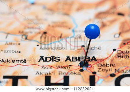 Addis Ababa pinned on a map of Africa