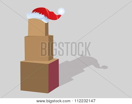 Stack of boxes with Santa hat  room for your input