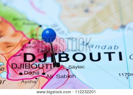 Djibouti pinned on a map of Africa