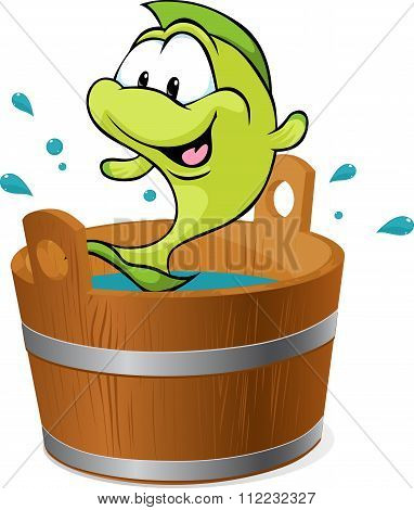 Carp Fish Splash Around In The Tub With Water - Vector Illustration