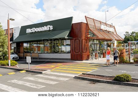 LE PIAN-MEDOC, FRANCE - AUGUST 13, 2015: exterior of McDonald's restaurant. McDonald's is the world's largest chain of hamburger fast food restaurants, founded in the United States.
