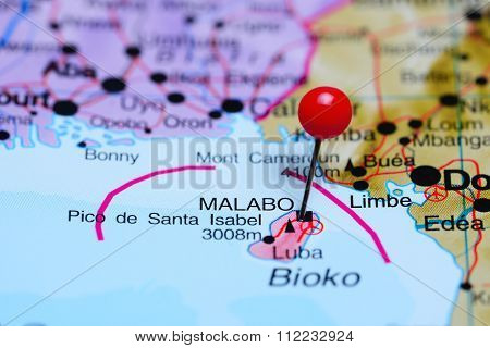 Malabo pinned on a map of Africa