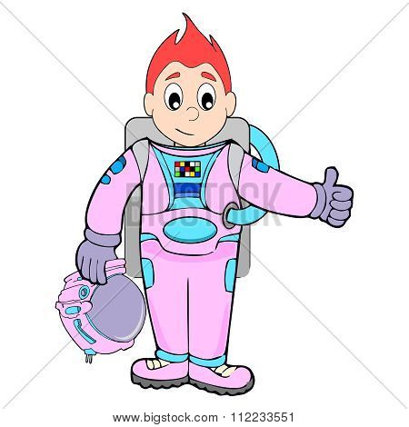 Vector Cartoon Young Astronaut Illustration